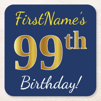 Posavasos Cuadrado De Papel 99.o cumpleaños del oro azul, falso + Nombre de
