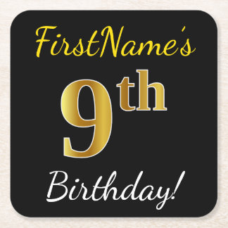 Posavasos Cuadrado De Papel 9no cumpleaños del oro negro, falso + Nombre de