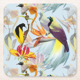Posavasos Cuadrado De Papel Acuarela exótica de las aves del paraíso y de las