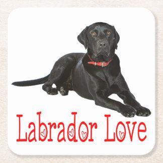 Posavasos Cuadrado De Papel Amor negro del rojo del perro de perrito del