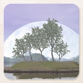 Posavasos Cuadrado De Papel Árbol con hojas liso de los bonsais del olmo - 3D