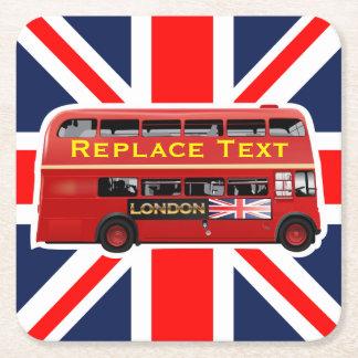 Posavasos Cuadrado De Papel Autobús rojo del autobús de dos pisos de Londres