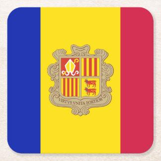 Posavasos Cuadrado De Papel Bandera patriótica de Andorra