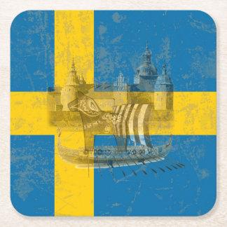Posavasos Cuadrado De Papel Bandera y símbolos de Suecia ID159