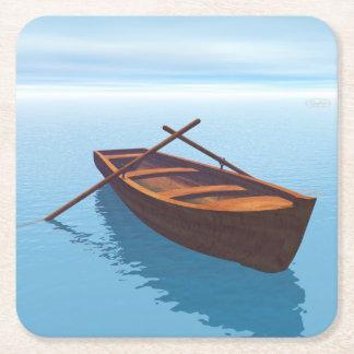 Posavasos Cuadrado De Papel Barco de madera - 3D rinden