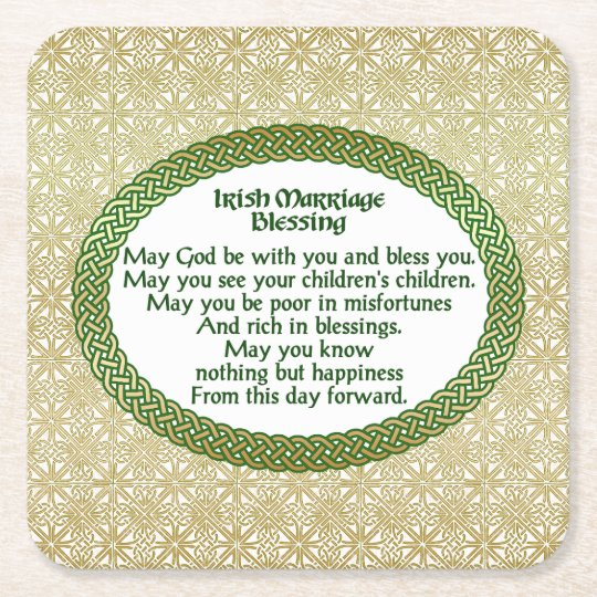 Posavasos Cuadrado De Papel Bendición irlandesa de la boda, oro y boda verde