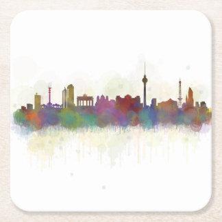 Posavasos Cuadrado De Papel Berlin city Germany. Deutsche Skyline art v2