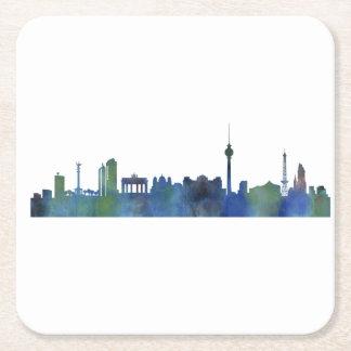 Posavasos Cuadrado De Papel Berlin city Germany Skyline art watercolor