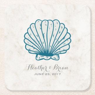 Posavasos Cuadrado De Papel Boda rústico del Seashell del azul real