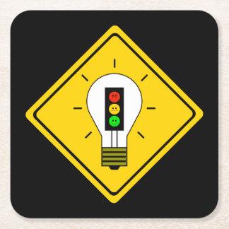 Posavasos Cuadrado De Papel Bombilla cambiante de la luz de parada a
