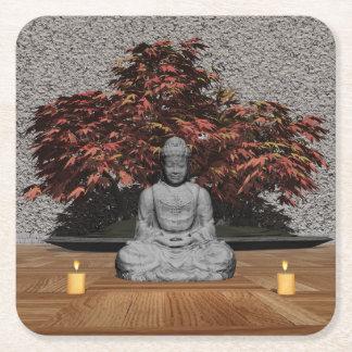 Posavasos Cuadrado De Papel Buda en un cuarto - 3D rinden