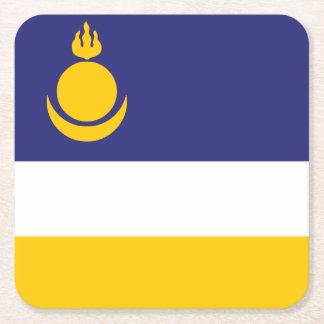 Posavasos Cuadrado De Papel Buriatia señala por medio de una bandera