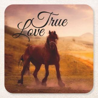 Posavasos Cuadrado De Papel Caballo verdadero del amor
