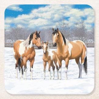 Posavasos Cuadrado De Papel Caballos de la pintura del ante en nieve