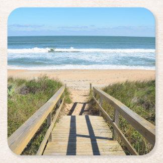 Posavasos Cuadrado De Papel Calzada a la playa