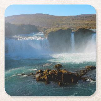 Posavasos Cuadrado De Papel Cascada de Islandia en verano