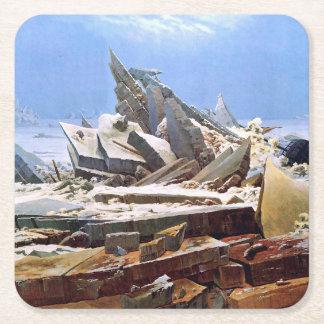 Posavasos Cuadrado De Papel CASPAR DAVID FRIEDRICH - el mar del hielo 1824