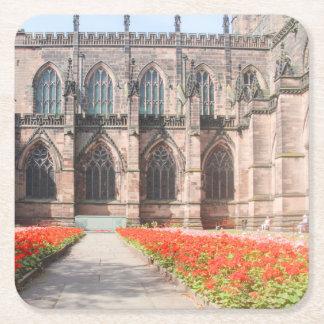 Posavasos Cuadrado De Papel Catedral y jardines, Inglaterra de Chester