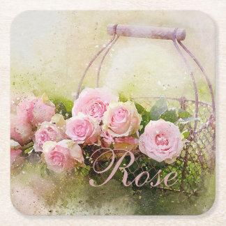 Posavasos Cuadrado De Papel Cesta color de rosa rosada