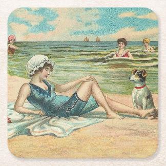 Posavasos Cuadrado De Papel Chica de la natación de la playa del Victorian