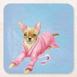 Posavasos Cuadrado De Papel Chihuahua en un práctico de costa de la bebida del