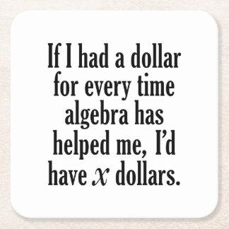 Posavasos Cuadrado De Papel Cita divertida de la matemáticas/de la álgebra -