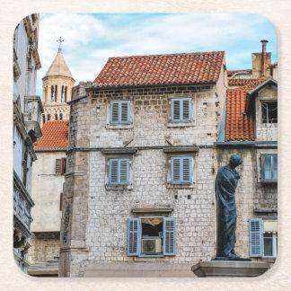 Posavasos Cuadrado De Papel Ciudad vieja, fractura, Croacia