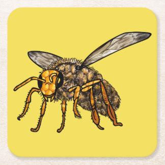 Posavasos Cuadrado De Papel Colmena de la abeja en práctico de costa de la