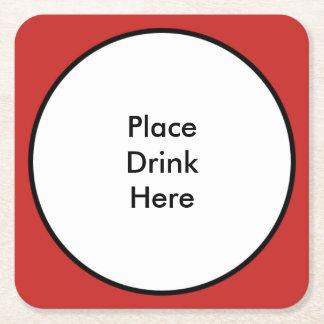 Posavasos Cuadrado De Papel Coloque el práctico de costa cuadrado de la bebida
