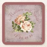 Posavasos Cuadrado De Papel Color de rosa elegante lamentable del Victorian