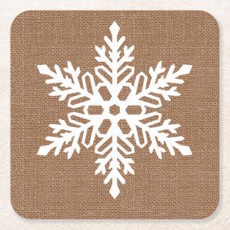 Posavasos Cuadrado De Papel Copo de nieve en navidad del estilo rural de la