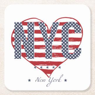 Posavasos Cuadrado De Papel Corazón de la bandera americana de NYC