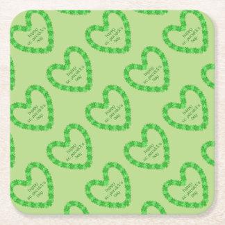 Posavasos Cuadrado De Papel Corazón del día de St Patrick