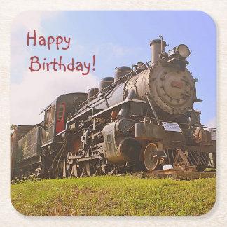 Posavasos Cuadrado De Papel Cumpleaños del tren del vapor del vintage