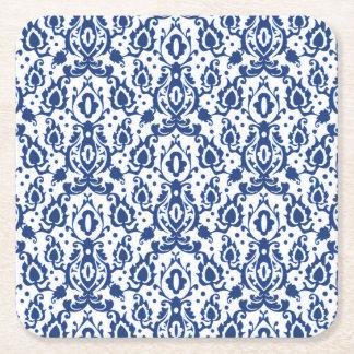 Posavasos Cuadrado De Papel Damasco marroquí azul y blanco elegante del estilo