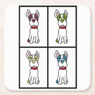 Posavasos Cuadrado De Papel Dibujo lindo del perro - Boston Terrier