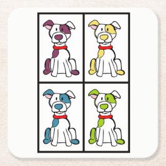 Posavasos Cuadrado De Papel Dibujo lindo del perro - raza del matón