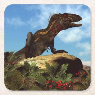 Posavasos Cuadrado De Papel Dinosaurio de Nanotyrannus que descansa - 3D