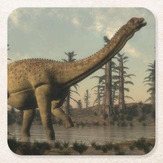 Posavasos Cuadrado De Papel Dinosaurio de Uberabatitan en el lago - 3D rinden