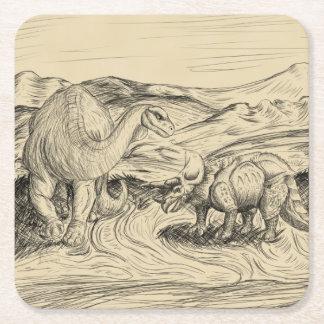 Posavasos Cuadrado De Papel Dinosaurios clásicos