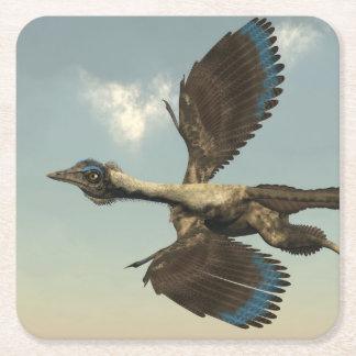 Posavasos Cuadrado De Papel Dinosaurios de los pájaros del Archaeopteryx que