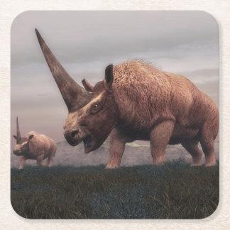 Posavasos Cuadrado De Papel Dinosaurios del mamífero de Elasmotherium - 3D