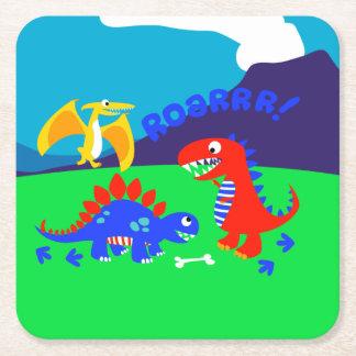 Posavasos Cuadrado De Papel Dinosaurios lindos