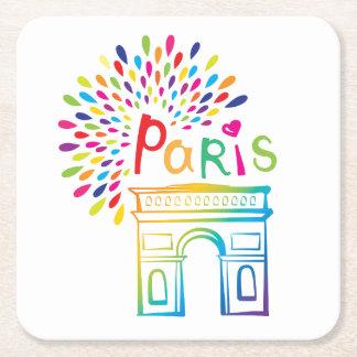 Posavasos Cuadrado De Papel Diseño de neón de París Francia el | Arco del