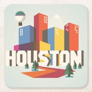 Posavasos Cuadrado De Papel Diseño del paisaje urbano de Houston, Tejas el |