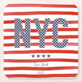 Posavasos Cuadrado De Papel Diseño del rojo de NYC el |, blanco y azul