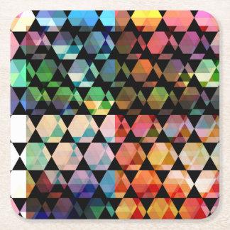Posavasos Cuadrado De Papel Diseño gráfico del hexágono abstracto