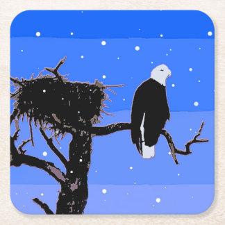 Posavasos Cuadrado De Papel Eagle calvo en invierno