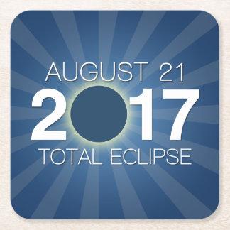 Posavasos Cuadrado De Papel Eclipse solar total 2017 - diseño azul