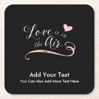 Posavasos Cuadrado De Papel El amor está en el aire - el día de San Valentín o